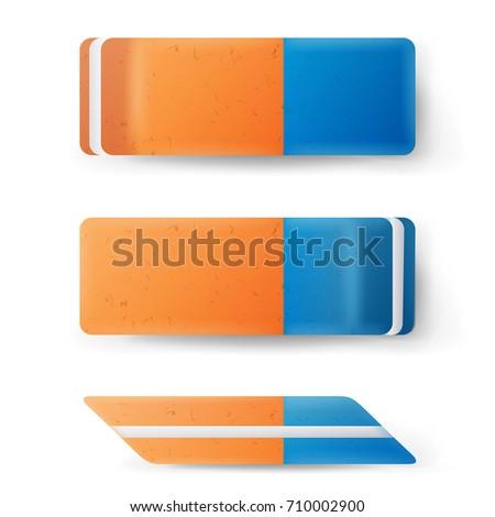 Zdjęcia stock: Gumki · odizolowany · wektora · klasyczny · niebieski · pomarańczowy