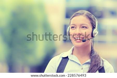 Primo piano ritratto sostegno telefono operatore auricolare Foto d'archivio © Nobilior