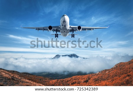 Airplane is flying in clouds over mountains with autumn forest Stock photo © denbelitsky