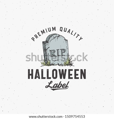 Halloween gravestone silhouette symbol with typography elements inside. Stock vector illustration fo Stock photo © JeksonGraphics