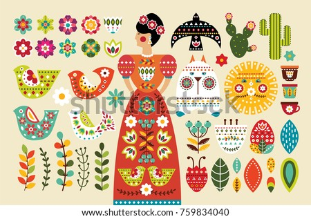 Mexican folk art vector seamless pattern with birds and flowers, black and white fiesta design inspi Stock photo © RedKoala