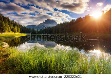 Great view of the foggy lake Antorno in National Park Tre Cime d Stock photo © Leonidtit