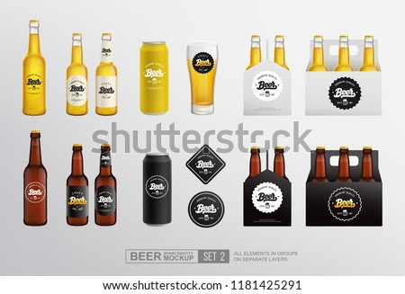 Vector Realistic beer bottle and glass. Brand packaging template Stock photo © frimufilms