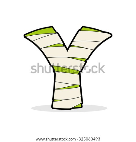 Letter Y Monster zombie. Mummy ABC icon. Alphabetical icon medic Stock photo © popaukropa
