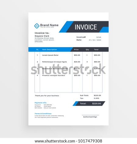elegant invoice template design for your business in blue color stock photo © sarts
