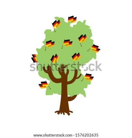 Stok fotoğraf: Patriotic Tree Germany Map German Flag National Political Plan