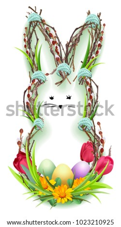 Easter bunny silhouette wreath of twig, green grass and flower. Easter eggs Stock photo © orensila