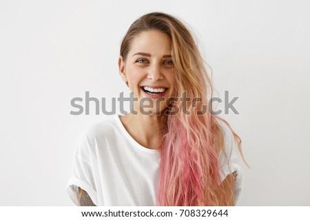 Beleza retrato feliz mulher caucasiano aparência Foto stock © deandrobot