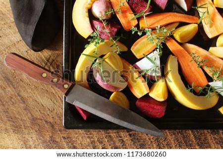 pan · completo · caída · estacional · hortalizas · listo - foto stock © Virgin
