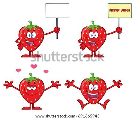 Heureux fraise fruits mascotte dessinée personnage ouvrir Photo stock © hittoon