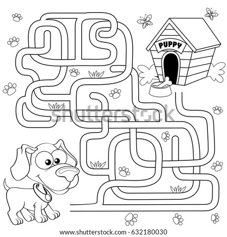 Help puppy find path to his house. Labyrinth. Maze game for kids Stock photo © Natali_Brill