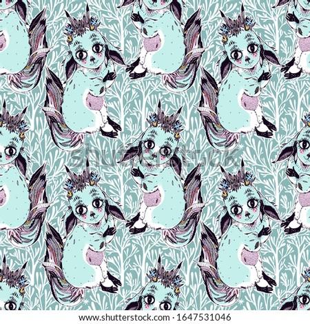 Fox sleeps seamless pattern. Sleeping wild beast background. Tex Stock photo © popaukropa