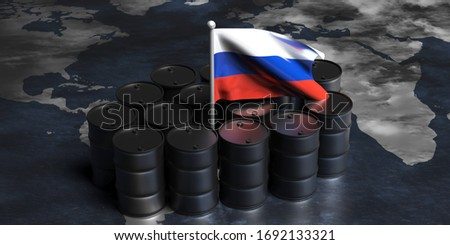 Barrel of oil on background maps of Russia. Flag of Russian Fede Stock photo © popaukropa