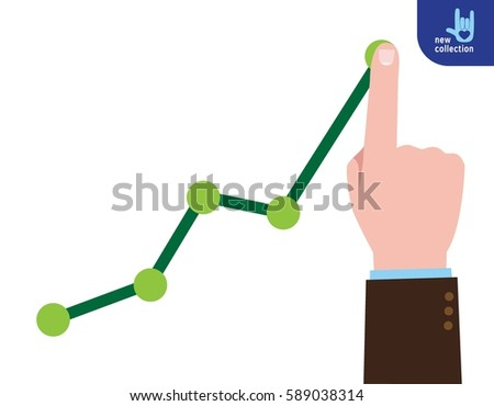 Profit growing business concept. Finger up holding chart arrow. Vector Stock photo © Andrei_