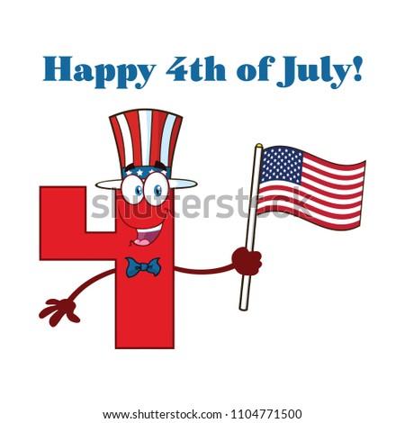 Fericit roşu număr patru mascota de desene animate Imagine de stoc © hittoon