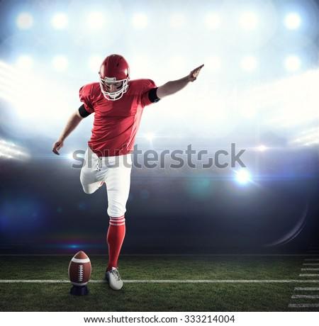 football player kicking ball against digitally generated french national flag stock photo © wavebreak_media