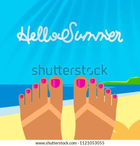 Nyári vakáció sablon lebarnult nő láb tengerpart Stock fotó © ikopylov