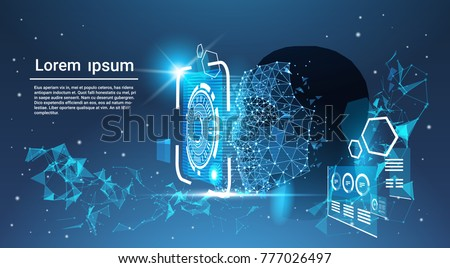 face recognition system concept human face scanning blue template background stock photo © marysan