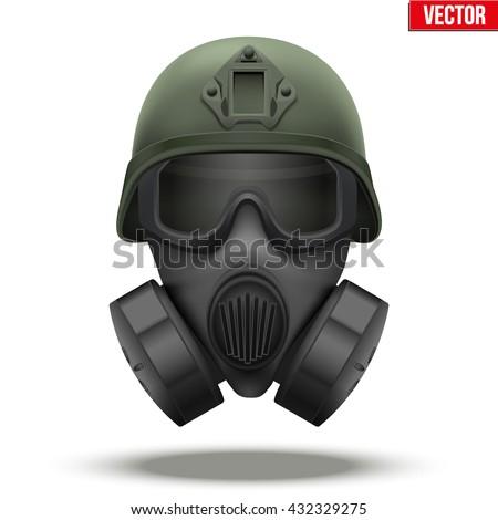 Soldaat militaire gasmasker groene vector gezicht Stockfoto © popaukropa