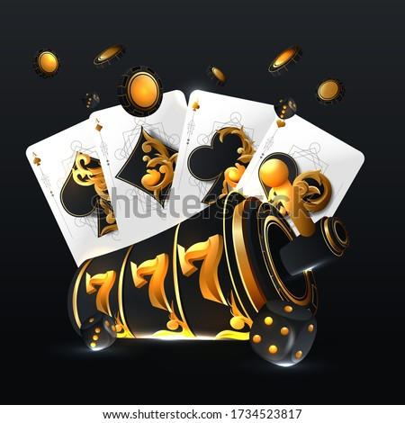 vector illustration on a casino theme with roulette wheel poker cards and playing chips on white ba stock photo © articular