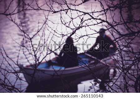 Blurry photo of young romantic people man and woman in basic clo Stock photo © deandrobot