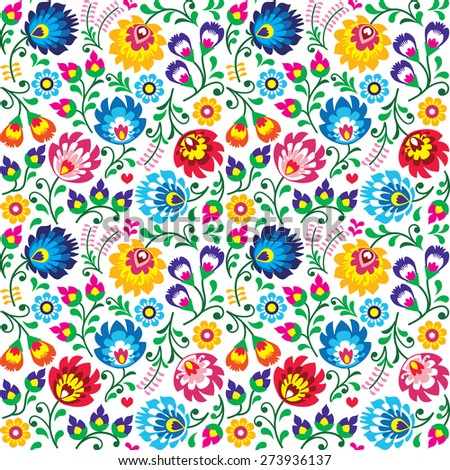 Seamless folk art vector pattern - Polish traditional repetitive design with flowers - wycinanki low Stock photo © RedKoala