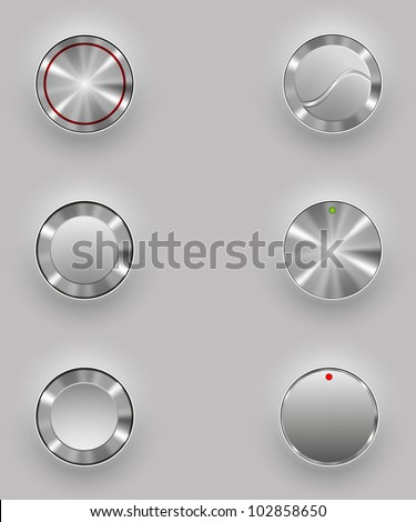 Grey shiny button with metallic elements, vector design for website Stock photo © olehsvetiukha