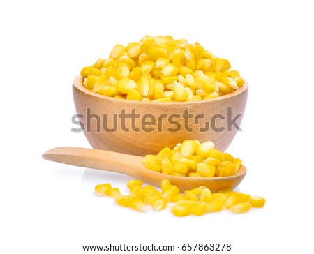 sweet corn in wooden bowl and spoon isolated on white background Stock photo © ungpaoman