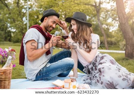 casal · potável · vinho · vinha · foto - foto stock © deandrobot