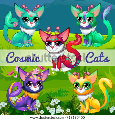 Funny poster with image of cosmic cats. Sample design of placard with cute funny animals. Vector car Stock photo © Lady-Luck