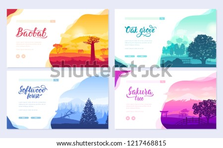 Types of trees from around the world. Beautiful parks from all over the planet. Colorful landscape f Stock photo © Linetale