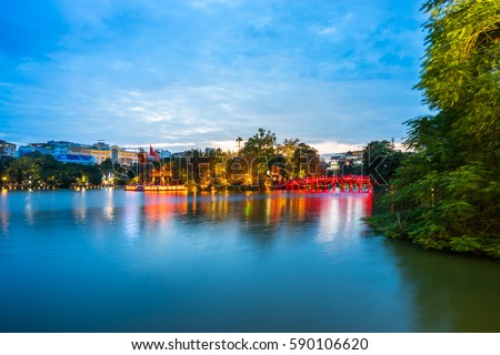Ngoc Son Temple on Jade Island in Hoan Kiem Lake in Hanoi, Vietn Stock photo © boggy
