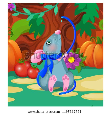 Gray animated mouse drinks water from a blue hose. Vector cartoon close-up illustration. Stock photo © Lady-Luck
