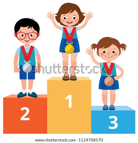 happy child girl winner with gold medal vector isolated illustration stock photo © pikepicture