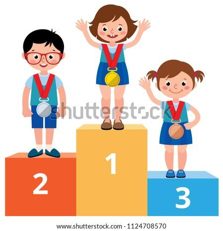 Boldog gyermek lány nyertes aranyérem vektor Stock fotó © pikepicture
