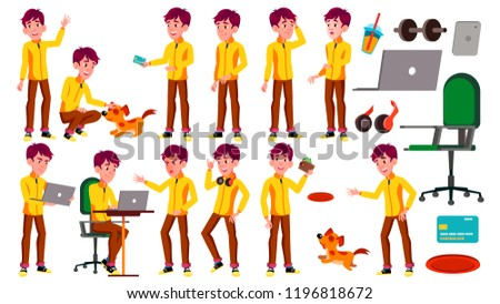Teen Boy Poses Set Vector. Beauty, Lifestyle. Pet, Dog. For Web, Poster, Booklet Design. Isolated Ca Stock photo © pikepicture