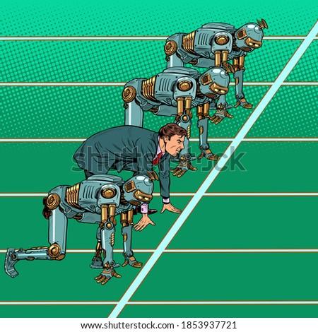 Robotization and technical revolution concept. Businessman pushe Stock photo © studiostoks