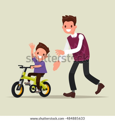 father teaches his son to ride a bicycle vector isolated illustration stock photo © pikepicture