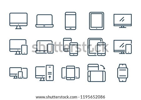 desktop computer monitor line icon outline vector sign linear style pictogram isolated on white stock photo © kyryloff
