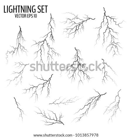 Bliksem vector ingesteld geïsoleerd witte eenvoudige Stockfoto © kyryloff