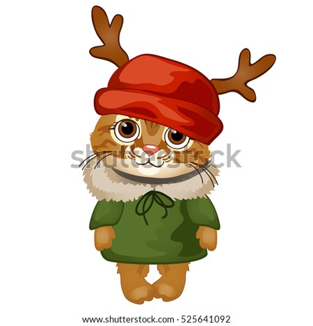 Cartoon cute kitten in a red hat with antlers isolated on white background. Sample of the poster, in Stock photo © Lady-Luck