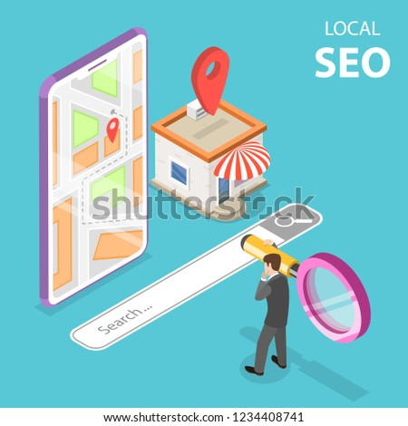 Isometric flat vector landing page for local seo, serching store. Stock photo © TarikVision