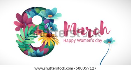 Happy women's day, flyer, congratulation card March 8 with flowers Stock photo © MarySan