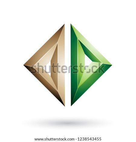 Beige and Green Frame Like Embossed Diamond Shape Vector Illustr Stock photo © cidepix