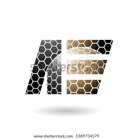 Black and Brown Dual Letters of A and E with Honeycomb Pattern V Stock photo © cidepix