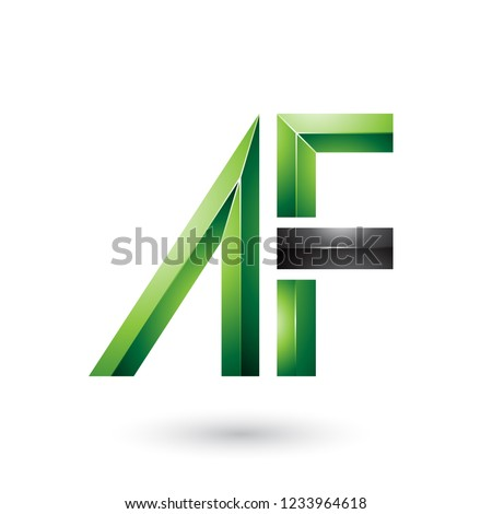 Green and Black Glossy Dual Letters of A and F Vector Illustrati Stock photo © cidepix
