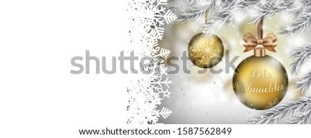 Merry Christmas Frozen Twigs Snowfall Golden Bauble Ribbon Heade Stock photo © limbi007