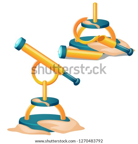 Broken telescope buried in the sand isolated on white background. Vector cartoon close-up illustrati stock photo © Lady-Luck