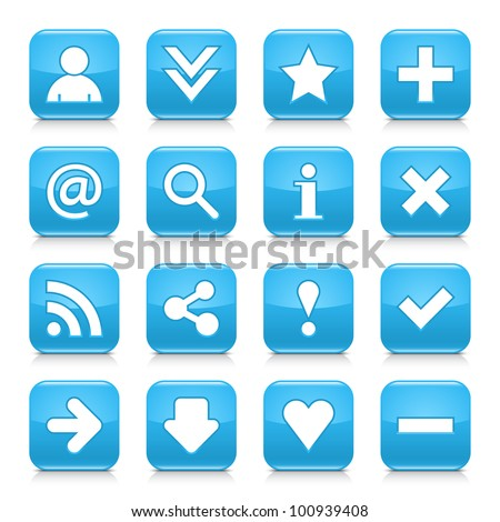 web button with add sign. Rounded square shape icon with shadow on white background. Stock photo © kyryloff