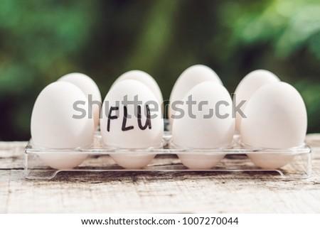 Sign FLU on the egg. The concept of disease. Avian influenza, salmanese Stock photo © galitskaya